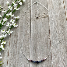 Load image into Gallery viewer, Dark Blue, Purple, Pink Necklace, Silver Softflex, Adjustable Necklace, Floating Necklace