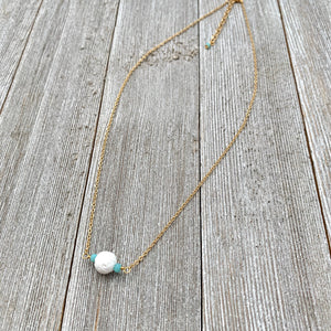 White Lava Diffuser Necklace, Turquoise Crystals, Matte Gold Chain
