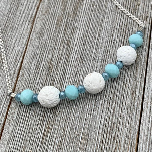 Three White Lava Beads, Turquoise and Blue Crystals, Diffuser Necklace