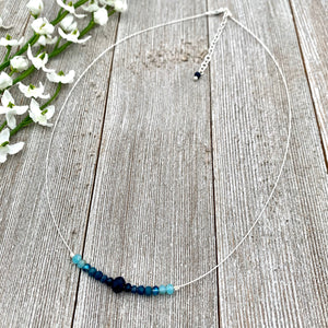 Blue Ombre Necklace, Silver Softflex, Adjustable Necklace, Floating Necklace