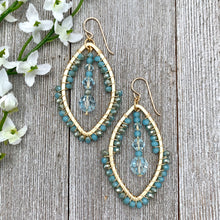 Load image into Gallery viewer, Wire Wrapped Crystal Earrings, Turquoise, Light Azore, Brushed Gold Frame, Gold Filled Ear Wires