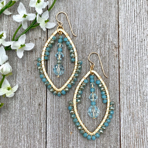 Wire Wrapped Crystal Earrings, Turquoise, Light Azore, Brushed Gold Frame, Gold Filled Ear Wires
