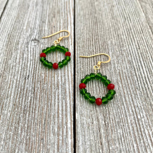 Wreath Earrings, Holiday Crystal Earrings, Christmas Earrings, Stocking Stuffer for Women, Gift for Her