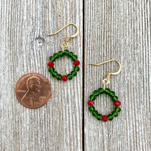 Load image into Gallery viewer, Wreath Earrings, Holiday Crystal Earrings, Christmas Earrings, Stocking Stuffer for Women, Gift for Her