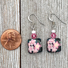 Load image into Gallery viewer, Black and Pink Flower Dangle Earrings, Floral Earrings for Women, Light Weight Earrings, Gift for Mom, Stocking Stuffer for Sister