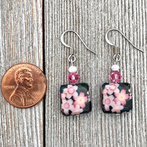 Black and Pink Flower Dangle Earrings, Floral Earrings for Women, Light Weight Earrings, Gift for Mom, Stocking Stuffer for Sister