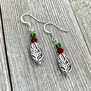 Christmas Leaf Earrings, Silver Leaf Earrings, Holiday Earrings, Dangle Christmas Earrings, Stocking Stuffer for Women, Gift for Her