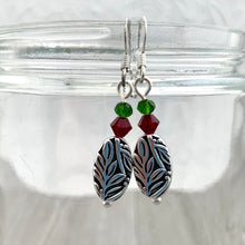 Load image into Gallery viewer, Christmas Leaf Earrings, Silver Leaf Earrings, Holiday Earrings, Dangle Christmas Earrings, Stocking Stuffer for Women, Gift for Her