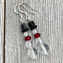 Load image into Gallery viewer, Snowman Earrings, Crystal Quartz Snowman, Winter Earrings, Holiday Earrings, Frosty the Snowman Earrings, Stocking Stuffer for Women, Gift