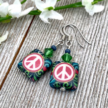 Load image into Gallery viewer, Blue and Fuchsia Peace Sign Dangle Earrings, Hippie Jewelry for Women, Bright Colored Earrings, Gift for Mom, Stocking Stuffer for Sister