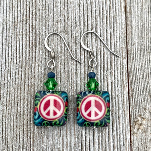 Blue and Fuchsia Peace Sign Dangle Earrings, Hippie Jewelry for Women, Bright Colored Earrings, Gift for Mom, Stocking Stuffer for Sister