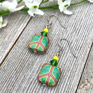 Green Peace Sign Dangle Earrings, Hippie Jewelry for Women, Bright Colored Earrings, Gift for Mom, Stocking Stuffer for Sister