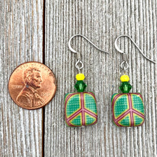 Load image into Gallery viewer, Green Peace Sign Dangle Earrings, Hippie Jewelry for Women, Bright Colored Earrings, Gift for Mom, Stocking Stuffer for Sister