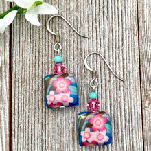 Load image into Gallery viewer, Pink Flower Dangle Earrings, Floral Earrings for Women, Light Weight Earrings, Gift for Mom, Stocking Stuffer for Sister
