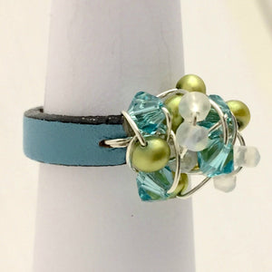 Leather Cluster Ring - Swarovski Crystals, Freshwater Pearls, and Faceted Czech Glass on Leather