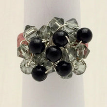 Load image into Gallery viewer, Leather Cluster Ring - Swarovski Crystals and Onyx on Leather