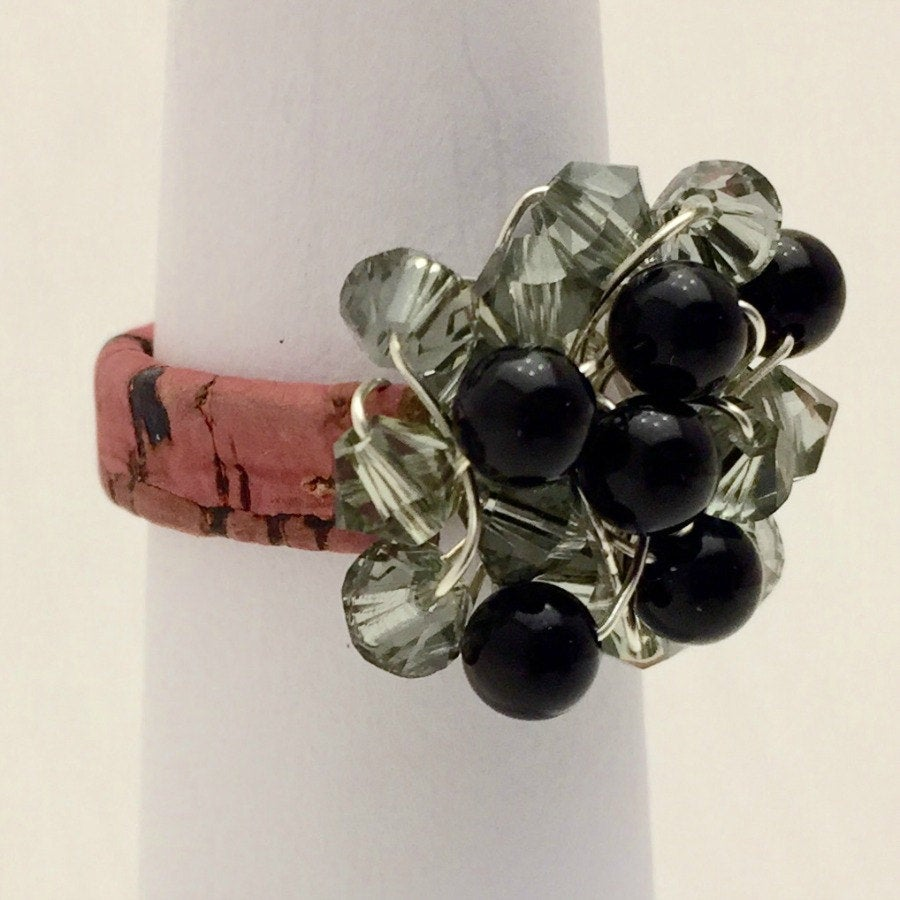 Leather Cluster Ring - Swarovski Crystals and Onyx on Leather