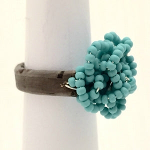Leather Cluster Ring - Turquoise Glass Seed Beads on Leather