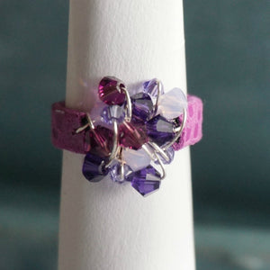 Swarovski Crystal Ring with Leather Band