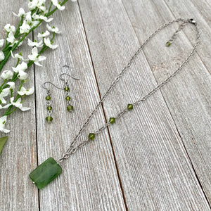 Olive Green Necklace and Earring Set