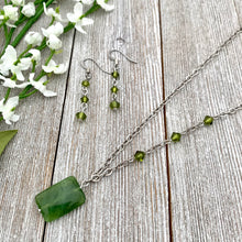 Load image into Gallery viewer, Olive Green Necklace and Earring Set
