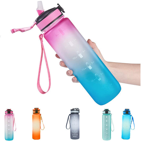 32 oz Water Bottle with Time Marker, Carry Strap, Leak-Proof Tritan BPA-Free, Ensure You Drink Enough Water for Fitness, Gym, Camping, Outdoor Sports
