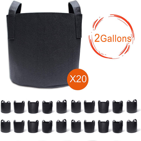 20-Pack 2 Gallon Grow Bags, Aeration Fabric Pots with Handles, Pot for Plants