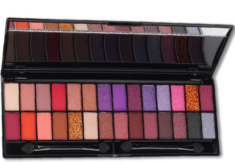 28 Shade Matte Eyeshadow Palette Tin Collection with Mirror, Double Ended Applicator and Blender, Nude and Smoke