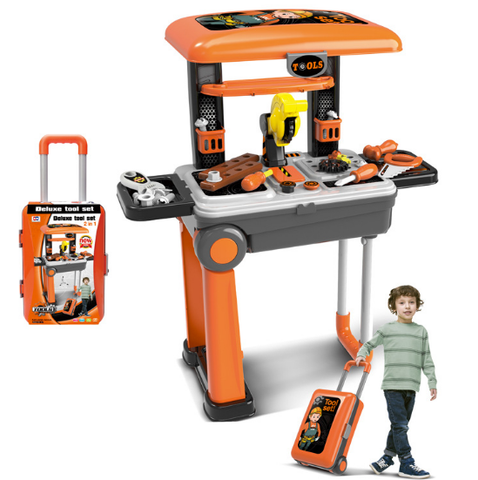 26 Pieces Construction Toys for Children, Colorful Tool Sets with Suitcase, Modern Power Tools with Storage Bench, Educative Toy Workbench for Hours of Fun, Great Toys for Boys and Girls
