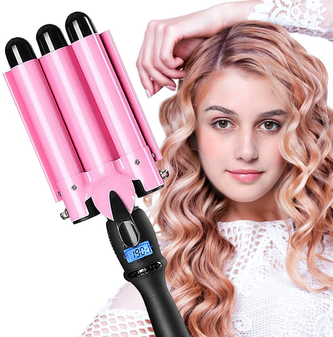 8% Code 3 Barrel Curling Iron Hair Waver Curling Iron Fast Heating Ceramic Hair Waver Curler 25mm Hair Curling Wand (Pink) Code
