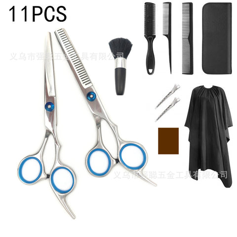 11PCS Hair Cutting Scissors Kit Professional Barber Haircut Scissors Set with Barber Shears-Thinning Shears for Men- Wome-, Kids