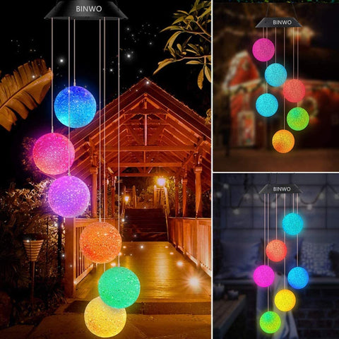 Wind Chimes Outdoor Solar Crystal Ball Wind Chimes Color Changing LED Mobile Wind Chime, Birthday Gifts for Mom/Grandma, Home Party Night Outdoor, Gardening Gift Outside Decor Solar Lights Chime