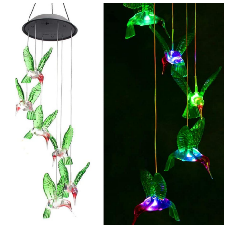 Solar String Lights, Color Changing LED Mobile Hummingbird Wind Chimes, Waterproof Outdoor Solar Lights for Home/Yard/Patio/Garden