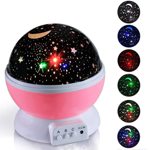 Baby Night Light Moon Star Projector 360 Degree Rotation - 4 LED Bulbs 9 Light Color Changing with USB Cable, Unique Gifts for Men Women Kids Best Baby Gifts¡­