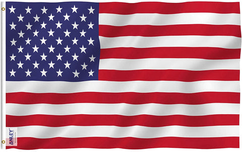 American US Flag 60x36 Inch Foot Polyester - Vivid Color and Fade Proof - Canvas Header and Brass Grommets- USA Banner Flags