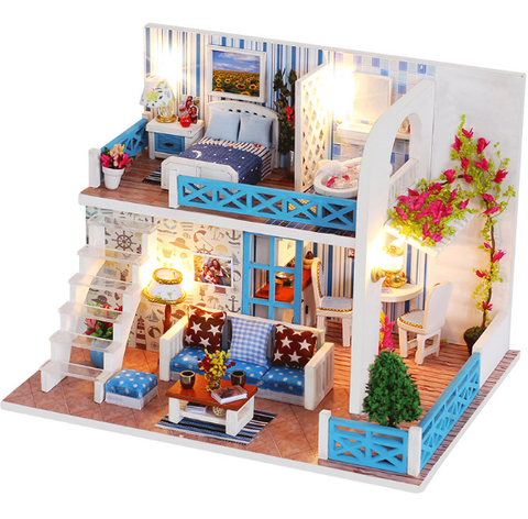 Dollhouse Miniature with Furniture, DIY Dollhouse Kit Plus Dust Proof and LED Music Movement, 1:24 Scale Creative Room Idea (Dream Angels)