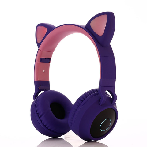 Kids Headphones,CT-7S Cat Ear Bluetooth Headphones 85dB Volume Limiting,LED Light Up Kids Wireless Headphones Over Ear with Microphone for iPhone/iPad/Kindle/Laptop/PC/TV (Purple&Green)