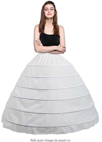 Women's 6 Hoops Petticoat Skirt for Party Wedding Crinoline Slip Underskirt