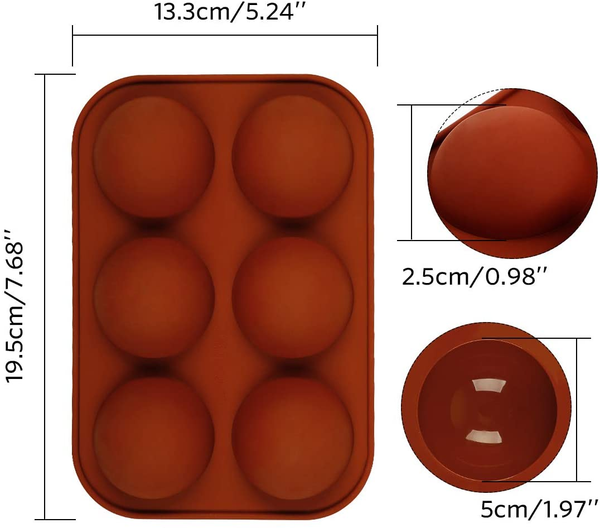 Medium Semi Sphere Silicone Mold, 2 Packs Baking Mold for Making Hot Chocolate Bomb, Cake, Jelly, Dome Mousse - DIY Cake Mold, Half Ball Sphere Cake Mold, Festival Party Food Grade Silicone Cake Mold
