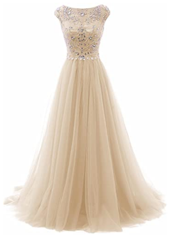 Women's Wedding Bridesmaid Dress Cap Sleeve Crystal Tulle Long Prom Dresses