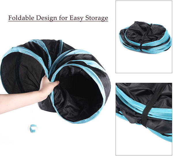 Collapsible Cat Tunnel Tube Kitty Tunnel Bored Cat Pet Toys Peek Hole Toy Ball Cat, Puppy, Kitty, Kitten, Rabbit