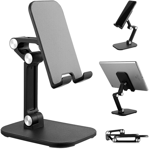 "Cell Phone Stand Angle Height Adjustable Cell Phone Holder Desktop Phone Stander Cradle Dock Universal Compatible with All Mobile 4""-12.9"" Phone /iPad/Kindle/Tablet Switch (Black)"