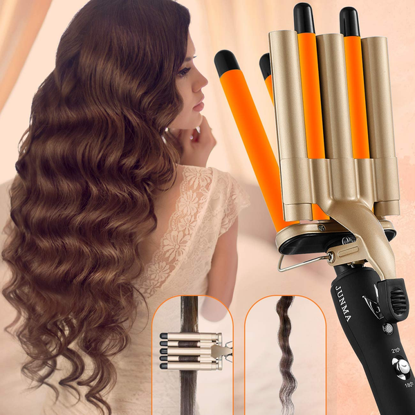 Hair Curling Iron 5 Barrel Hair Crimper 16mm Curling Wand Two-Gear Temperature Adjustable Ceramic Hair Curler Curling Iron Hair Waver with Heat Resistant Gloves