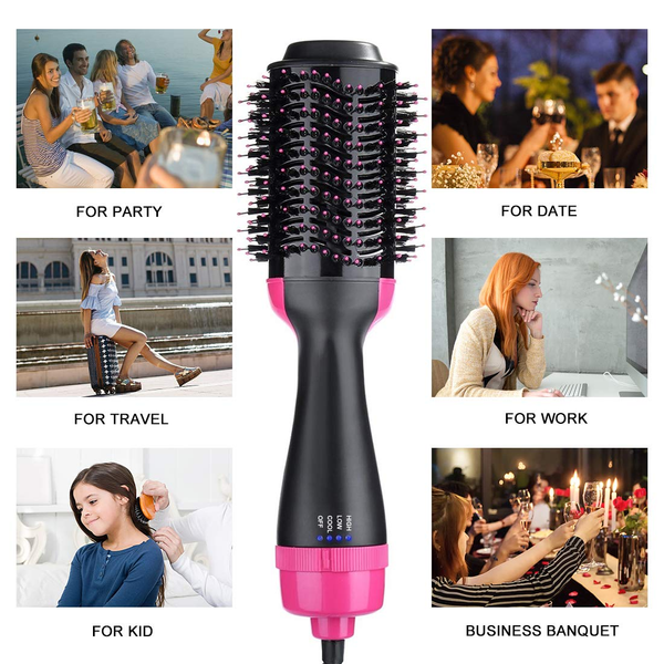 Hair Dryer & Volumizer Styler Professional Salon Hot Air Brush Styler and Dryer 3-in-1 Negative Ion Straightener Oval Blower Hair Dryer for All Hair Types (Hair Dryer01)