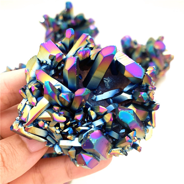 wholesale electrplated colorful quartz cluster reiki healing crystals mineral stone for home &wedding decor 1 Kilogram