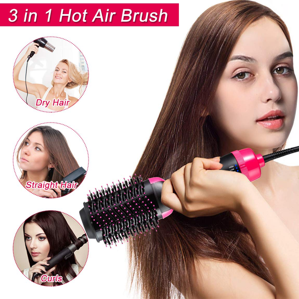 Hot Air Brush 3 In 1 Hair Dryer & Volumizer Negative Ion Hair Dryer Brush Hot Air Blow Dry Brush Upgraded Electric Brush, Dry Straighten & Curl for All Hair Types (pink$black)
