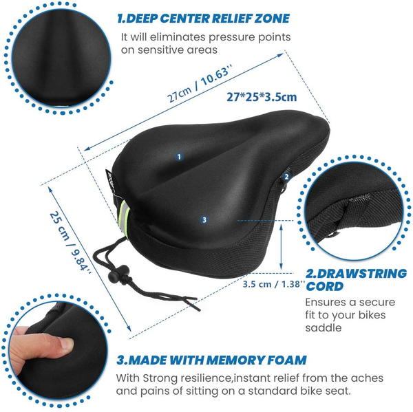 Memory Foam Bike Seat Cover, SGODDE Extra Soft Large Wide Bike Seat Cushion for Women Men, Comfortable Exercise Bicycle Saddle Cushion Fits Cruiser and Stationary Bikes, Spinning with Waterpoof Cover