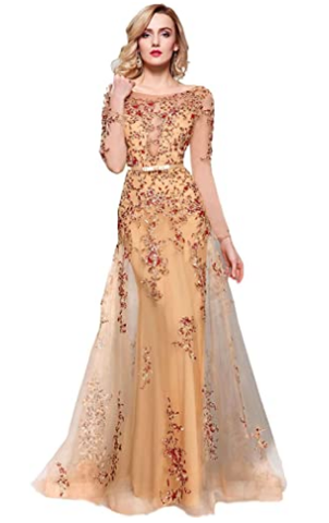 Women's Illusion Long Sleeve Embroidery Prom Formal Dress