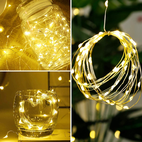 Copper Wire Lights Warm White 33 ft LED String Lights with 100 LEDs