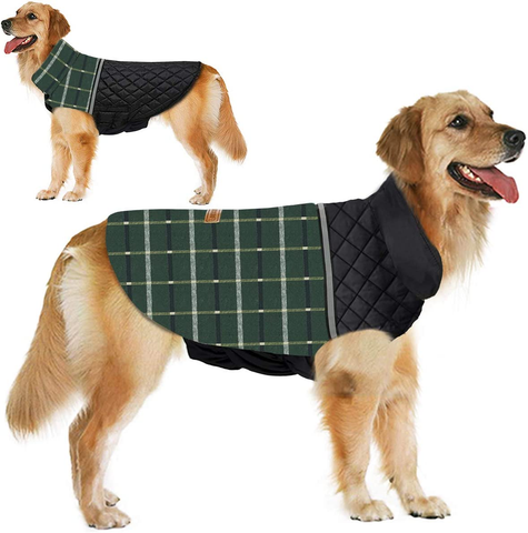 Dog Jacket Winter Dog Coat Reversible Reflective Dogs Apparel Outdoor Thicken Windproof British Style Plaid Dog Vest Warm Dog Coats for Small Medium Large Dogs Winter